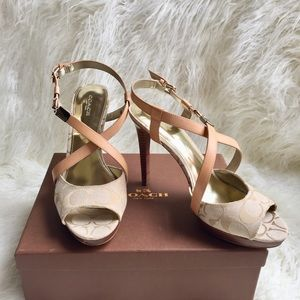 NEW Coach Wendelle ginger leather sandals
